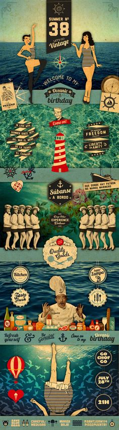 Oceanic Birthday. The art of vintage. #webdesign #design (View more at www.aldenchong.com)