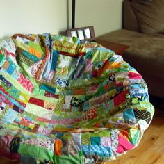 This Handmade Patchwork Slip On Cover Works Like A Pillowcase . Very Pretty  And A Lot Of Time Has Been Spent Creating It.