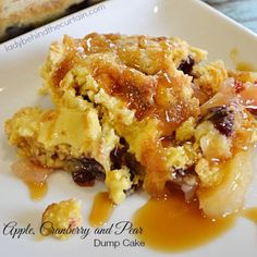Need a quick and easy holiday party dessert? We've got you covered with this apple, cranberry, and pear dump cake.