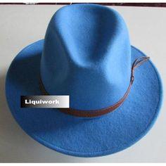 Sky Blue Australian Wool Dress Cowboy Cowgirl Fedora Hats Men Women SKU-159063
