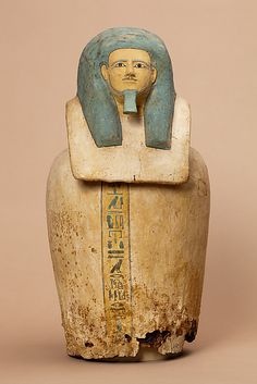 Canopic jar of Kay Period: Middle Kingdom Dynasty: Dynasty 12 Date: ca. Geography: Country of Origin Egypt, Middle Egypt, Meir (Mir), Tomb of Kay, Khashaba Ancient Egypt Art, Ancient Artifacts, Ancient History, Art History, Canopic Jars, Egyptian Art, Archaeology, Sculptures, Anubis