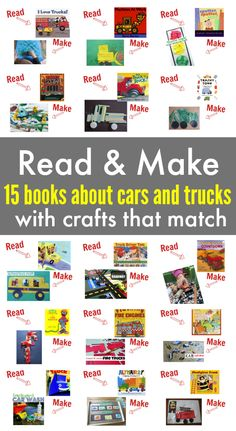 Books about cars and trucks with crafts to match! I love this read and make series from No Time For Flash Cards. They have great picture books matched with crafts and activities.