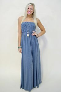 Strapless maxi dress with pintuck detailed bust and cinched waist. Blue