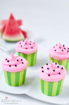 Watermelon Cupcakes with Sweet Watermelon Buttercream