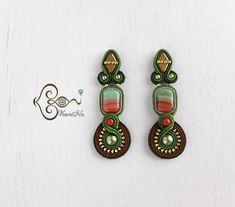 Soutache Jewelry, Bohemian Jewelry, Shibori, Beaded Embroidery, Drop Earrings, Beads, Jewelery, Crafts, Inspiration
