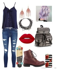 """""""BLUE"""" by marilyngonzalez20001 ❤ liked on Polyvore featuring Chinese Laundry, J Brand, Sans Souci, Serefina, Lime Crime, Erickson Beamon and NLY Accessories"""