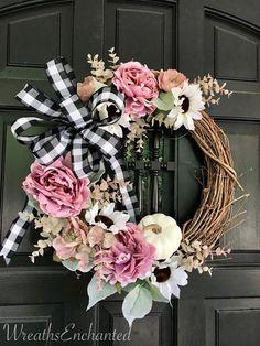 Fall Wreath Farmhouse Wreath Blush and White Sunflower Wreath Buffalo Check Bow Pink and White Wreat Elegant Fall Wreaths, Easy Fall Wreaths, Diy Fall Wreath, Summer Wreath, Thanksgiving Wreaths, Spring Wreaths, Winter Wreaths, Wreath Ideas, Holiday Wreaths