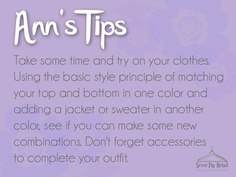 Here's a good weekend project - try on your clothes and try out some new combinations. You might just find some outfits you didn't know you had!