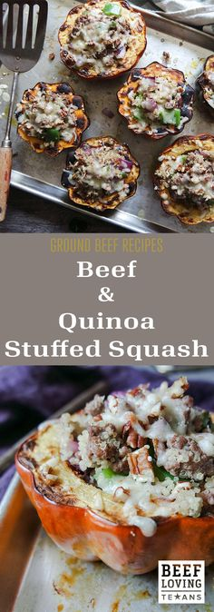 Roasted acorn squash filled with ground beef, pecans and quinoa. A low-carb recipe packed with flavor and protein.