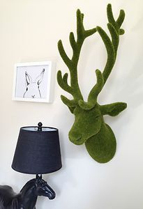 NEW Large Moss Deer Head Stag Wall Decor Home Artificial Grass Decoration Garden | eBay