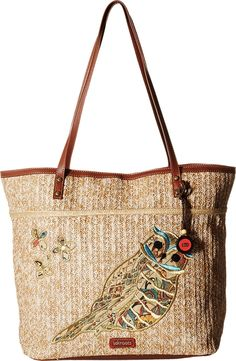 Sakroots Artist Circle Straw Xl Tote Bag. 19in l x 7in w x 14in h; drop: 12 inches. Includes detachable printed coin purse. Lining features two multi function pockets and one zipper pocket.