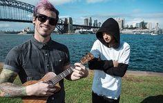 josh is so cute with his purple hair