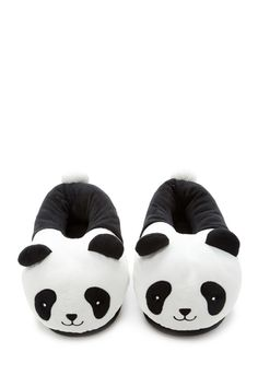 A pair of house slippers featuring an embroidered smiling panda face, and ear and tail accents. Panda Love, Cute Panda, Panda Bear, Cute Slippers, Crocheted Slippers, Felted Slippers, Fox Slippers, Bedroom Slippers, Bare Bears