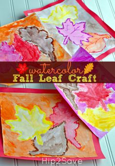 Watercolor Fall Leaf Kids Craft for Autumn Leaves Craft, Autumn Crafts, Fall Crafts For Kids, Autumn Art, Thanksgiving Crafts, Autumn Theme, Holiday Crafts, Autumn Ideas, Autumn Harvest