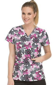 366c8c06434 MC2 by Med Couture Women's Niki V-Neck Floral Print Scrub Top Medical  Uniforms,