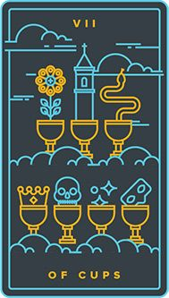 The meaning of Seven of Cups from the Golden Thread Tarot Tarot deck: Among your many options, choose the one closest to your heart. Seven Of Cups, Golden Thread Tarot, Dreams And Visions, Tarot Card Meanings, Creative Visualization, Child Love, Inner Child, Tarot Reading, Tarot Decks