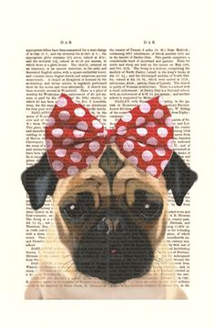 Pug With Red Bow Art Print Acrylic Painting Giclee by FabFunky, $10.00