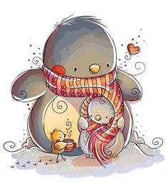 Winter Warmth by Rachelle Anne Miller Carlson Prado Stuff UK UK Pinguin Illustration, Illustration Mignonne, Children's Book Illustration, Christmas Pictures, Christmas Art, Cute Images, Cute Pictures, Art Mignon, Penguin Love
