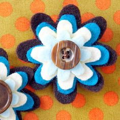 Simple Flower Brooch  Dress up a plain sweater or bag with this adorable brooch.  What You Need   -- 3 sheets of felt    -- Button    -- A needle and contrasting thread     -- Pin back