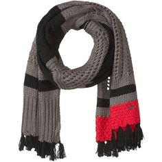 SOREL Cozy Knit Scarf (Candy Apple) ($70) ❤ liked on Polyvore featuring accessories, scarves, striped shawl, fringe shawl, knit shawl, striped scarves and fringe scarves