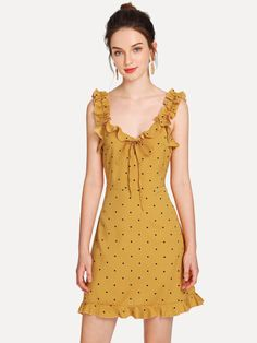 Product name: Ruffle Detail Knot Polka Dot Dress at SHEIN, Category: Dresses Cute Summer Dresses, Cute Dresses, Beautiful Dresses, Short Sleeve Dresses, Clothes For Women Over 50, Casual Dress Outfits, Mode Hijab, Dot Dress, Dress Patterns