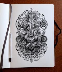 Ganesha ink by Bennett-Klein on DeviantArt Ganesh Tattoo, Hindu Tattoos, Tattoos Mandala, Tattoos Geometric, Buddha Tattoos, Lotus Tattoo, Tattoo Ink, Buddhism Tattoo, Symbol Tattoos
