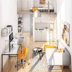 New Bedroom Design Small Room Layout Beds Ideas Small Space Design, Small House Design, Small Spaces, Small Room Layouts, House Layouts, Small Apartment Interior, Apartment Design, Tiny Loft, Deco Studio