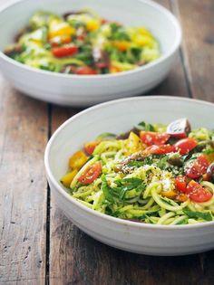 Zucchini Noodles with Avocado Basil Cream - zucchini, avocado, lemon, tahini, basil leaves, Celtic sea salt, cherry tomatoes, basil leaves, hemp hearts