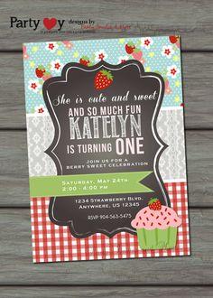 Strawberry Birthday Invitation Cupcake by PartyInvitesAndMore, $10.00