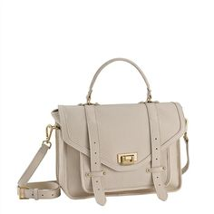 GiGi New York, Hayden Satchel in Ivory/Pebble Grain, $600 with 3-letter personalization for $25
