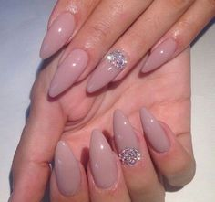 Nude Almond Shape Acrylic Nails w/ Rhinestones. Are you looking for short and long almond shape acrylic nail designs? See our collection full of short and long almond shape acrylic nail designs and get inspired!