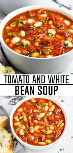 This Vegan Tomato White Bean Soup is the perfect meal for busy weeknights The flavor is out-of-this world yet the ingredients are short and simple It s perfect for any time of year too tomatosoup vegansoup whitebeansoup glutenfree dairyfree veganhuggs Vegan Bean Soup, Bean Soup Recipes, Vegan Soups, Vegetarian Recipes, Healthy Recipes, White Bean Recipes, Vegan Bean Recipes, Vegan Tomato Soup, Simple Soup Recipes