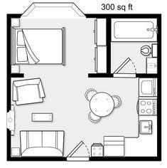Granny pods with garage studio apartment Studio Apartment Floor Plans, Studio Floor Plans, Studio Apartment Layout, Cabin Floor Plans, Studio Apt, Apartment Plans, Studio Layout, Tiny House Cabin, Tiny House Design