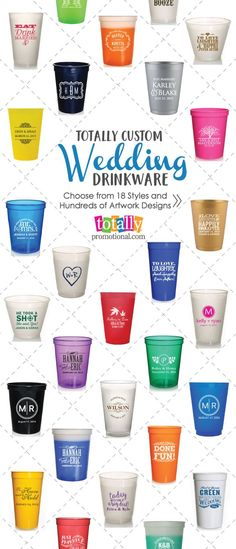 Welcome to your one-stop shop for custom #wedding cups. Select from personalized stadium cups, elegant frosted cups, special mood cups & more to impress your guests! Choose one of our head-turning designs or submit your own for personalized wedding favors your guests will appreciate! Use coupon code PINNER10 and receive 10% off your drinkware order! Sale applies to piece price only, not valid with other coupon codes and expires April 4, 2017!