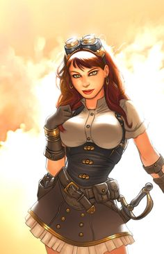 Steampunk Corsairs is a comic book published by Antarctic Press written by Rod Espinosa drawn by artist Rod Espinosa with a cover by artist Rod Espinosa in the genre of actionadv steampunk Steampunk Kunst, Steampunk Artwork, Mode Steampunk, Steampunk Fashion, Steampunk Characters, Fantasy Characters, Female Characters, Fantasy Kunst, Fantasy Art