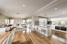 The Appella © Ben Trager Homes | Perth Display Home | Open Plan Living, Kitchen, Dining