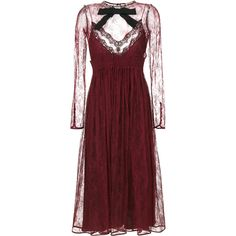 Nº21 Chantilly lace dress (42.159.440 IDR) ❤ liked on Polyvore featuring dresses, red, lacy dress, lace dress, red lace dress, lacy red dress and lace cocktail dress