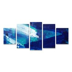 39b549fcb Quadro Abstrato Grande Alegria Azul Sala Quarto Escritório 5 peças