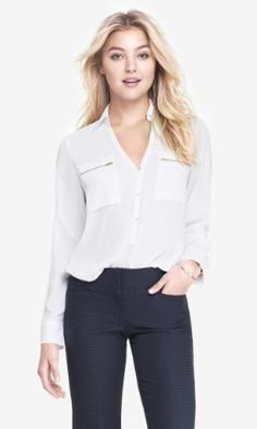 #9. ZIP POCKET HALF PLACKET SOFT SHIRT from EXPRESS ( in Cayman Blue, or Coral) ($50)