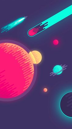 Space Minimal Art Illustration iPhone Wallpaper