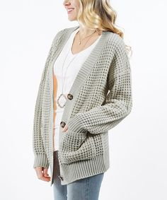 Light Sage Waffle-Knit Button-Up Pocket Cardigan - Women & Plus Knitted Coat, Waffle Knit, Knitting Designs, Cardigans For Women, Knit Cardigan, Button Up, Pullover, Sage, Pocket