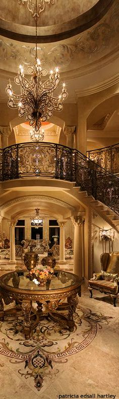 INCREDIBLE paint treatment on the walls, crazy about the chandelier and I love the stencilled designs along the ceiling. Such inspiration. Okay the railings are dreamy also. - Luxury Living For You Luxury Decor, Luxury Interior, Beautiful Interiors, Beautiful Homes, Hm Deco, Future House, My House, Grand Staircase, Stairs
