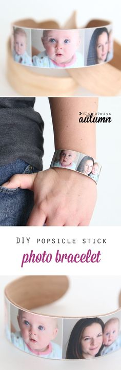 DIY photo bracelets are cute, easy, and inexpensive to make with your favorite pictures. These bracelets are made from popsicle sticks and are a perfect handmade gift idea. Great idea for Mother's Day, Christmas, or to remember your special day (wedding!). #sponsored
