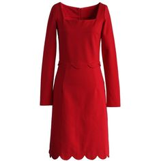 Chicwish Dainty Red Dress with Scalloped Hem ($56) ❤ liked on Polyvore featuring dresses, red, red zipper dress, red evening dresses, zip dress, cocktail dresses and red day dress