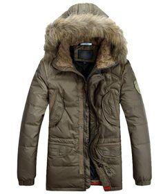 Fengbay Men's Down Raccoon Fur Hooded Coat