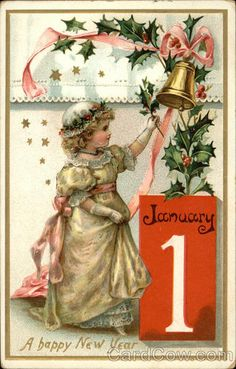 Vintage New Year Postcard Vintage Happy New Year, Happy New Year Cards, Happy New Year 2018, New Year Greeting Cards, New Year Greetings, Vintage Greeting Cards, Vintage Christmas Cards, Vintage Holiday, Christmas Pictures