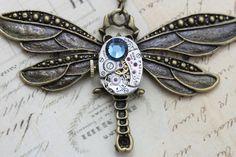 Steampunk Necklace Steam Punk Dragonfly Jewelry - Vintage Elgin Watch - Montana Blue Swarovski Crystal. $45.00, via Etsy.