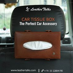 This leather car tissue box holder not only lets you keep the tissue box at a handy location without moving here and there but also saves useful car space. Simple and #elegantdesign #fullyfunctional, practical and compact. http://leathertalks.com/product/car-tissue-box/