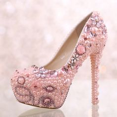 39.02$  Watch now  - New Pink Pearl Diamond Wedding Shoes Bride Super High Heel Pumps Bride Shallow Round Toe Waterproof Shoes