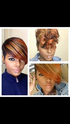African American short hair, edgy hair, black hair, color